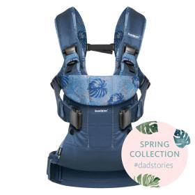 Рюкзак-кенгуру BabyBjorn One Cotton Mix Spring Collection (0930.52) Midnight blue/Leaf print