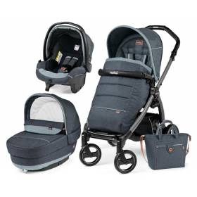 Коляска 3в1 Peg Perego Elite Blue Denim на шасси Book S Jet