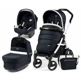 Коляска 3в1 Peg Perego Pop Up Luxe Blue на шасси Book 51 S Black&White