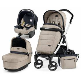 Коляска 3в1 Peg Perego Pop Up Luxe Beige на шасси Book S Black&White