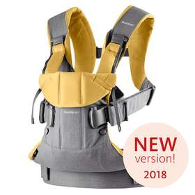 Рюкзак-кенгуру BabyBjorn One Grey,Yellow/Cotton Mix арт.0980.73