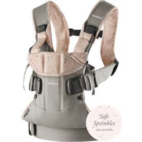 Рюкзак-кенгуру BabyBjorn One Cotton Mix Classic gray / Pink sprinkles арт. 0980.77